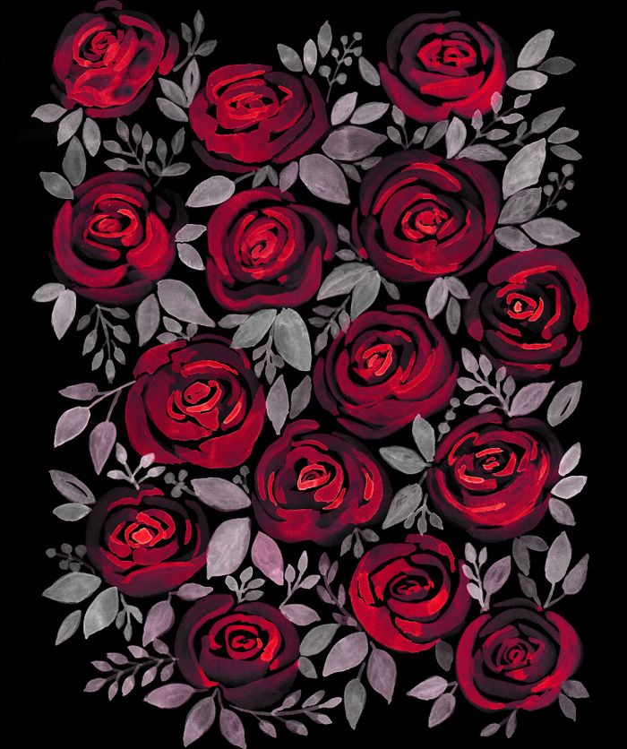 Watercolor Red Roses On Black Background Flowers Black Background Black Background Painting Black Background Wallpaper