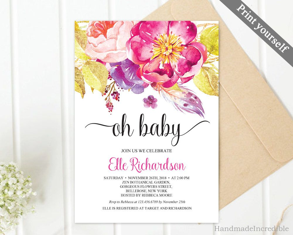 Fuscia and Gold Girl Baby Shower Invitation Template. Printable ...