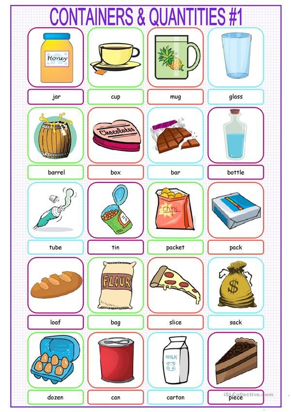 Containers & Quantities Picture Dictionary#1 | Actividades para ...