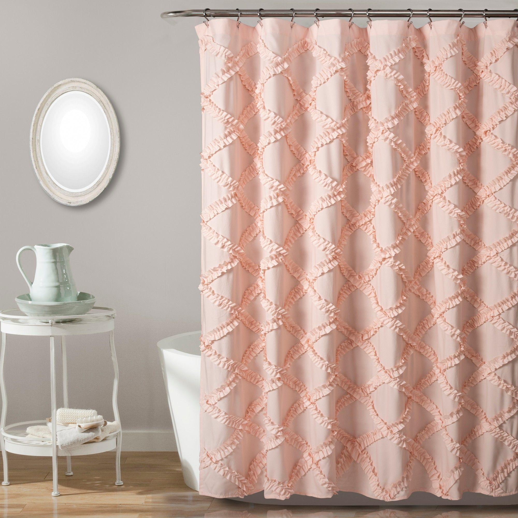 Ruffle Diamond Shower Curtain Blush Pink Lush Decor Ruffle