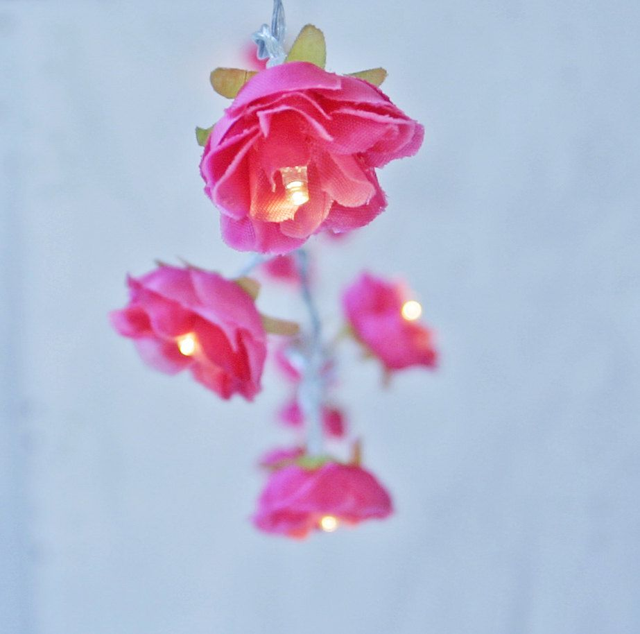 Shabby Hot Pink Rose Fairy Lights String Lights Flower Garland