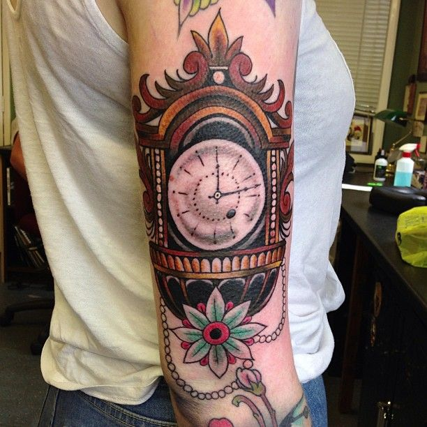 Family Heirloom Timepiece Grandfather Clock Tattoo With Roots That Represent Family Grandfather Clock Tattoo Clock Tattoo Grandfather Clock
