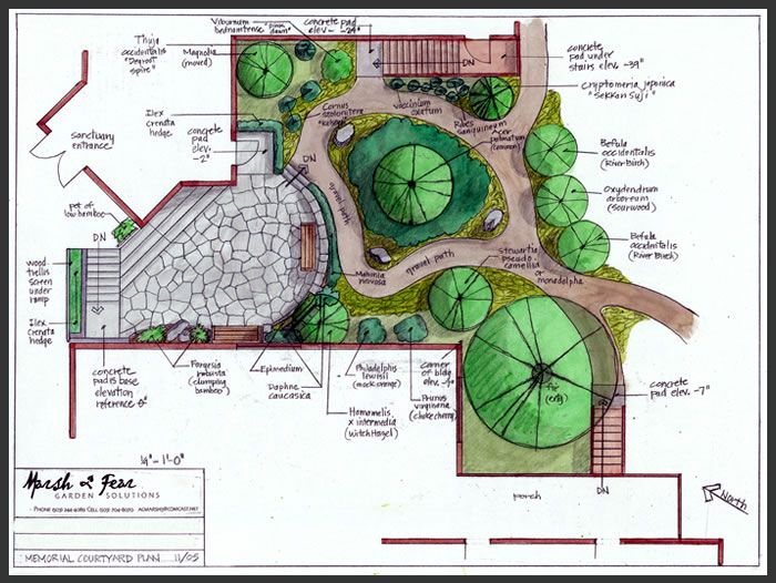 Marsh fear garden solutions portfolio of garden plans for Small japanese garden layouts