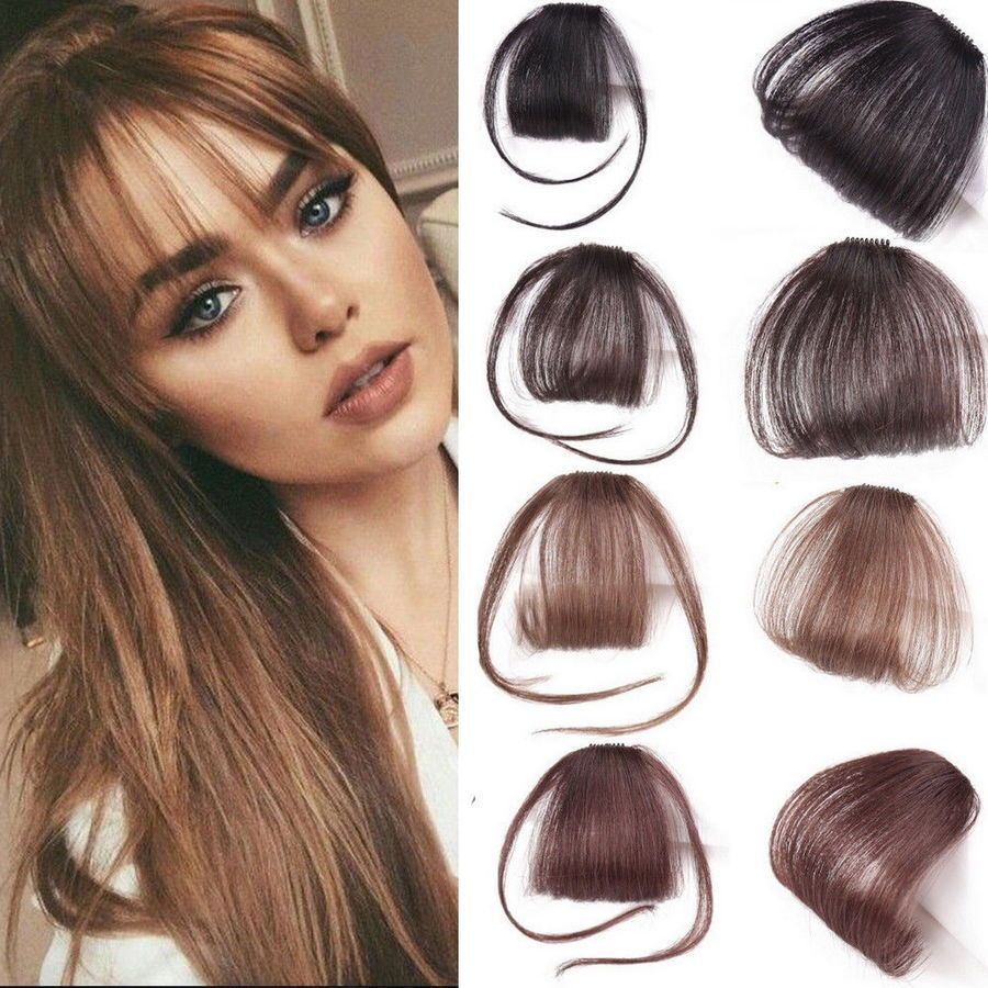 Super Thin Air Bangs Fringe Clip In Remy Human Hair Front Extensions Hairpiece Bangs Frin Front Hair Styles Extensions For Thin Hair Human Hair Extensions Clip