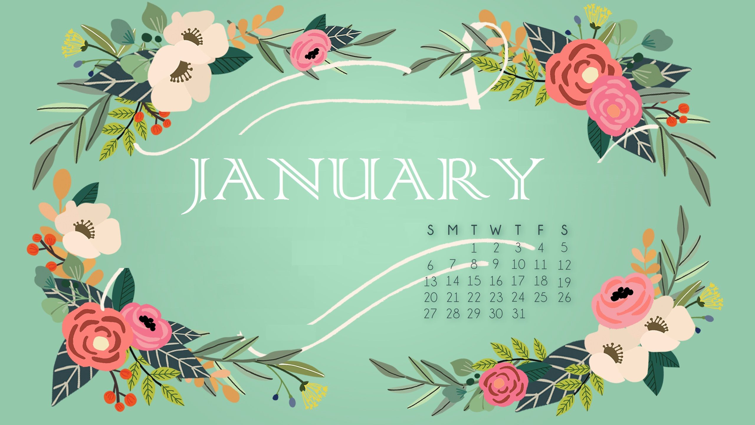 Floral January 2019 Calendar Wallpaper #wallpaper # ...