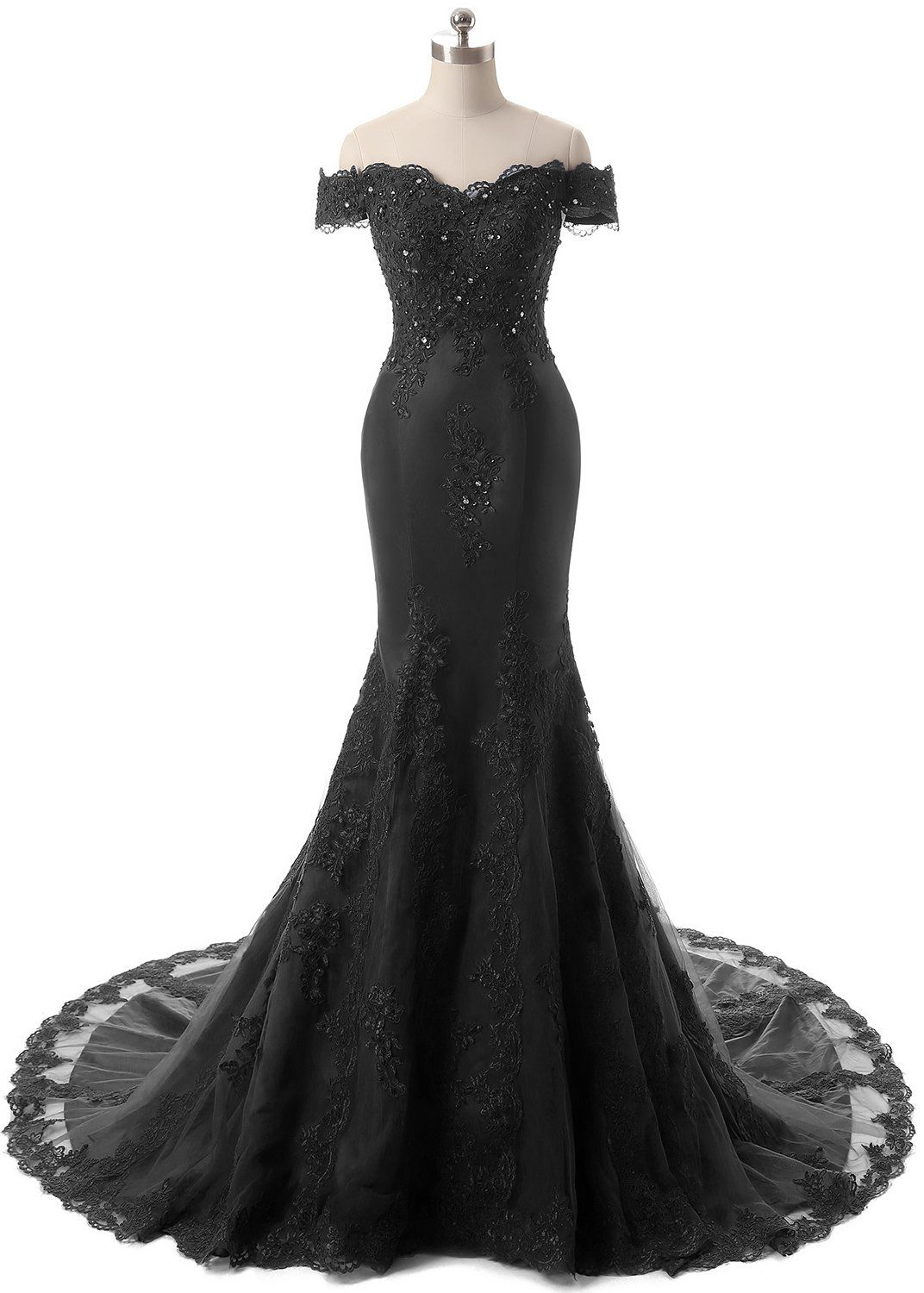 Himoda womens v neckline beaded evening gowns mermaid lace prom