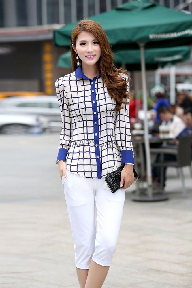 Fashion Women Chiffon Long Sleeve Career Shirt Plaid Style Bow Patchwork Blouse  #Unbranded #Blouse