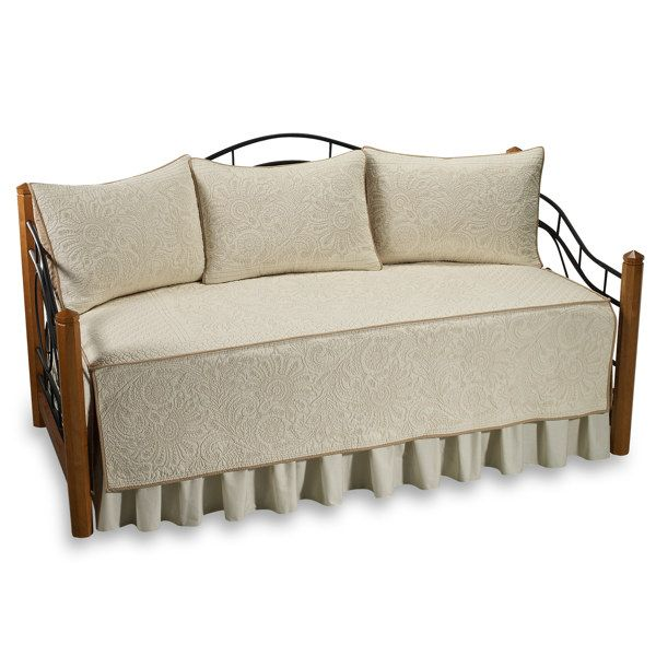 Vallejo Quilted Daybed Set 100 Cotton Ivory Bed Bath
