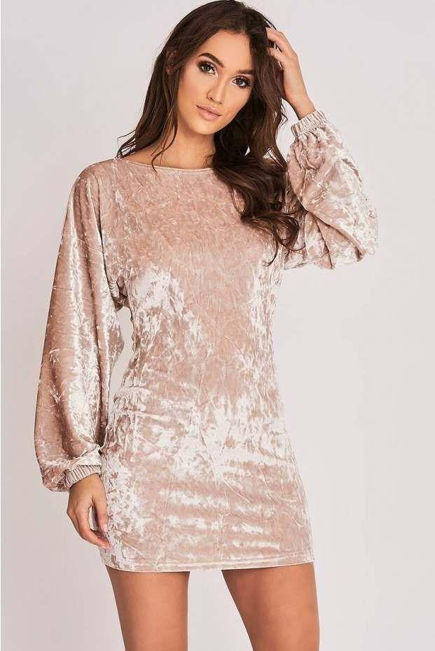 cd906b9c563c Binky light gold crushed velvet open back dress | - STYLE - | Open ...