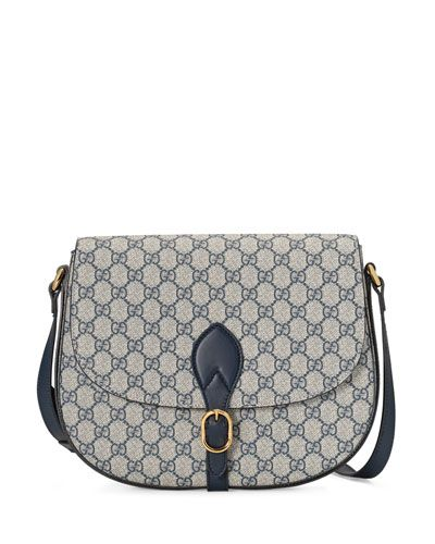 99a8dace2f050a GUCCI Gg Supreme Medium Flap Saddle Bag, Beige/Blue. #gucci #bags # #