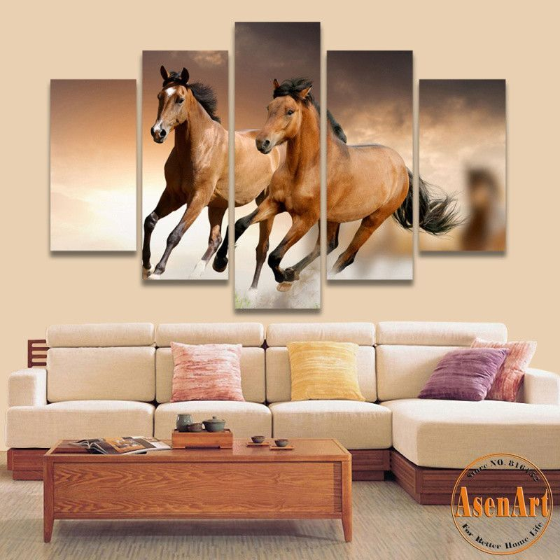 5 Panel Canvas Art Running Horse Painting Animal Painting