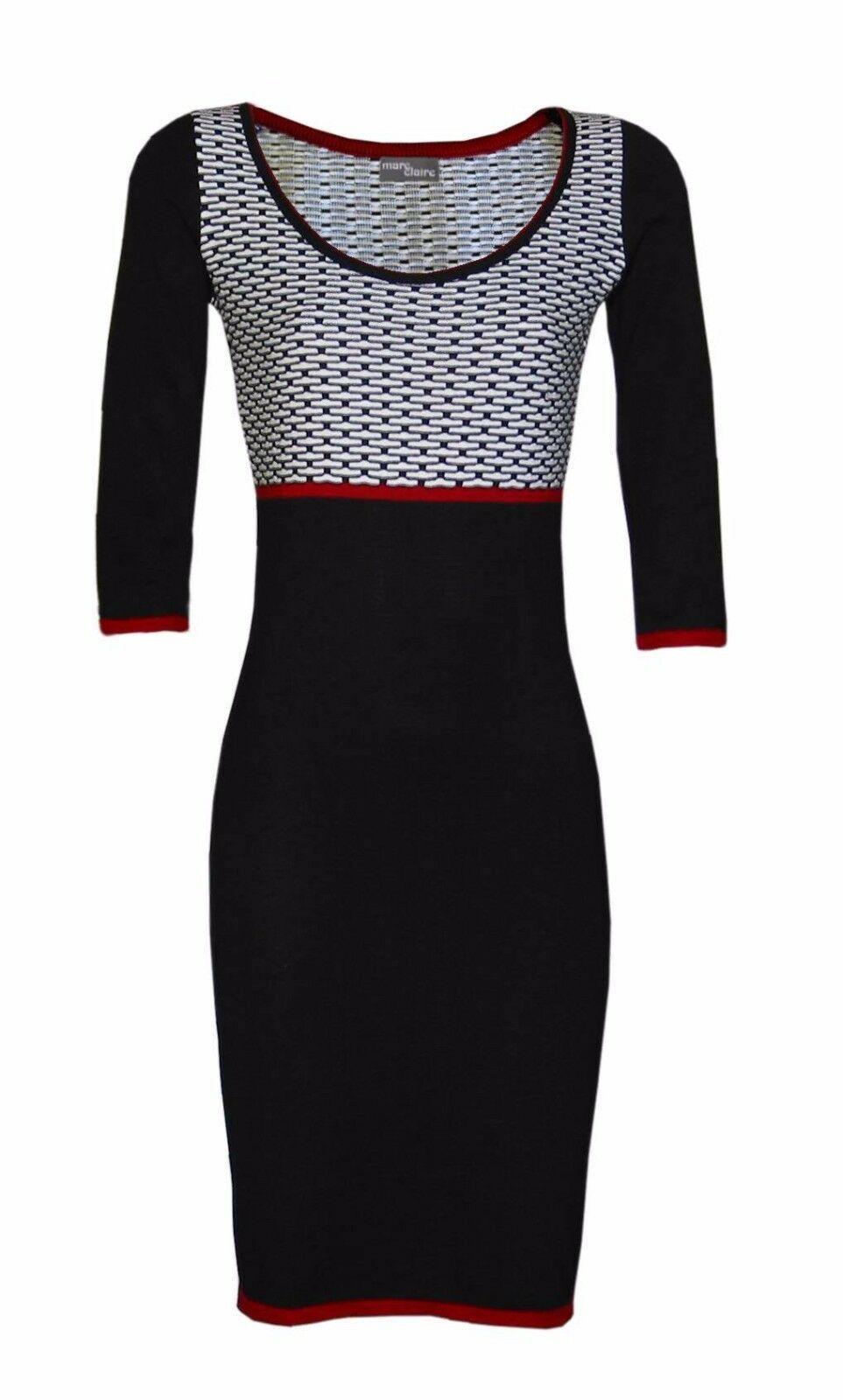 elegantes Kleid Strickkleid Gr. 11 Etuikleid schwarz weiß Made in