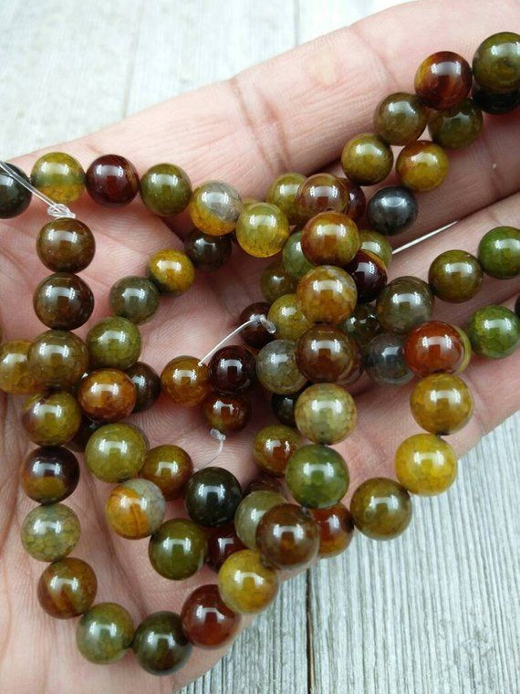 8 mm Dragon Veins Agate Beads Stones Round Gemstones Yoga Mala Religious Rosary Jewelry Findings Beading Supplies Bracelet Necklace Earrings #rosaryjewelry
