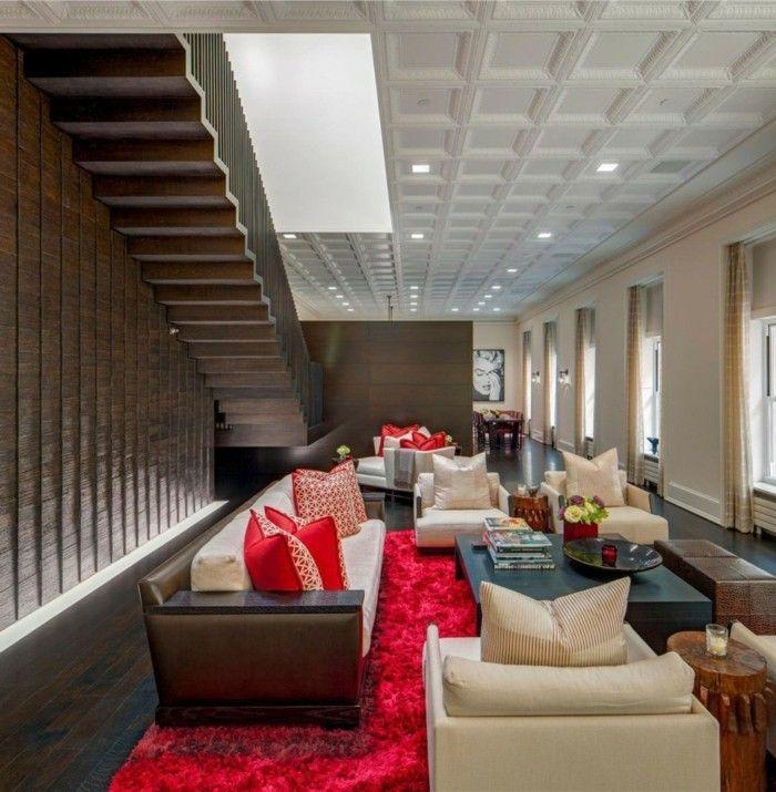wohnideen wohnzimmer roter teppich und innentreppen | Interieur ...