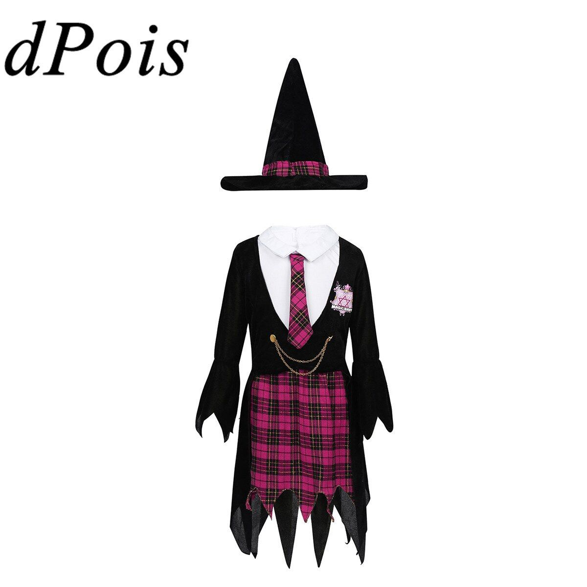 Kids  Girls Halloween Costume Witch Clothes Party Dresses+Hat Outfit