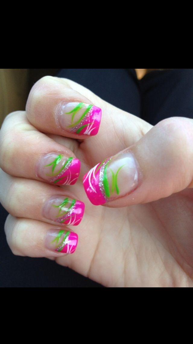 Pink And Lime Green 5 Green Nail Designs Hot Pink Nails Neon Green Nails