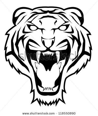 2f307efc3 stock vector : tiger face | Clipart | Tiger tattoo, Tiger stencil ...