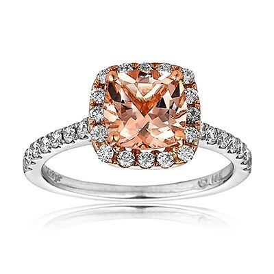 Morganite center stones rose gold, white gold and diamonds