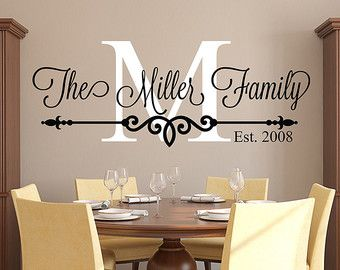 Decorative Wall Decals family last name monogram personalized custom wall decal sticker