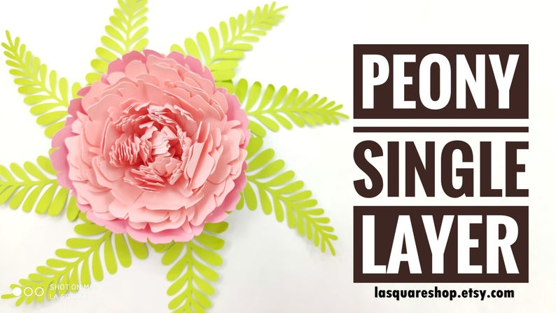 Giant Peony Paper Flowers template SVG -Diy paper flowers template - Printable flower backdrop, flower svg wedding, PDF paper flower nursery #largepaperflowers