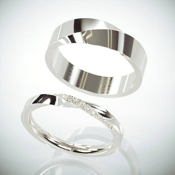 Seine und ihr Mobius Hochzeit Band Set   Weißgold Mobius Ehering Set mit Diamanten   Twist Ehering Set mit Diamanten #weddingrings