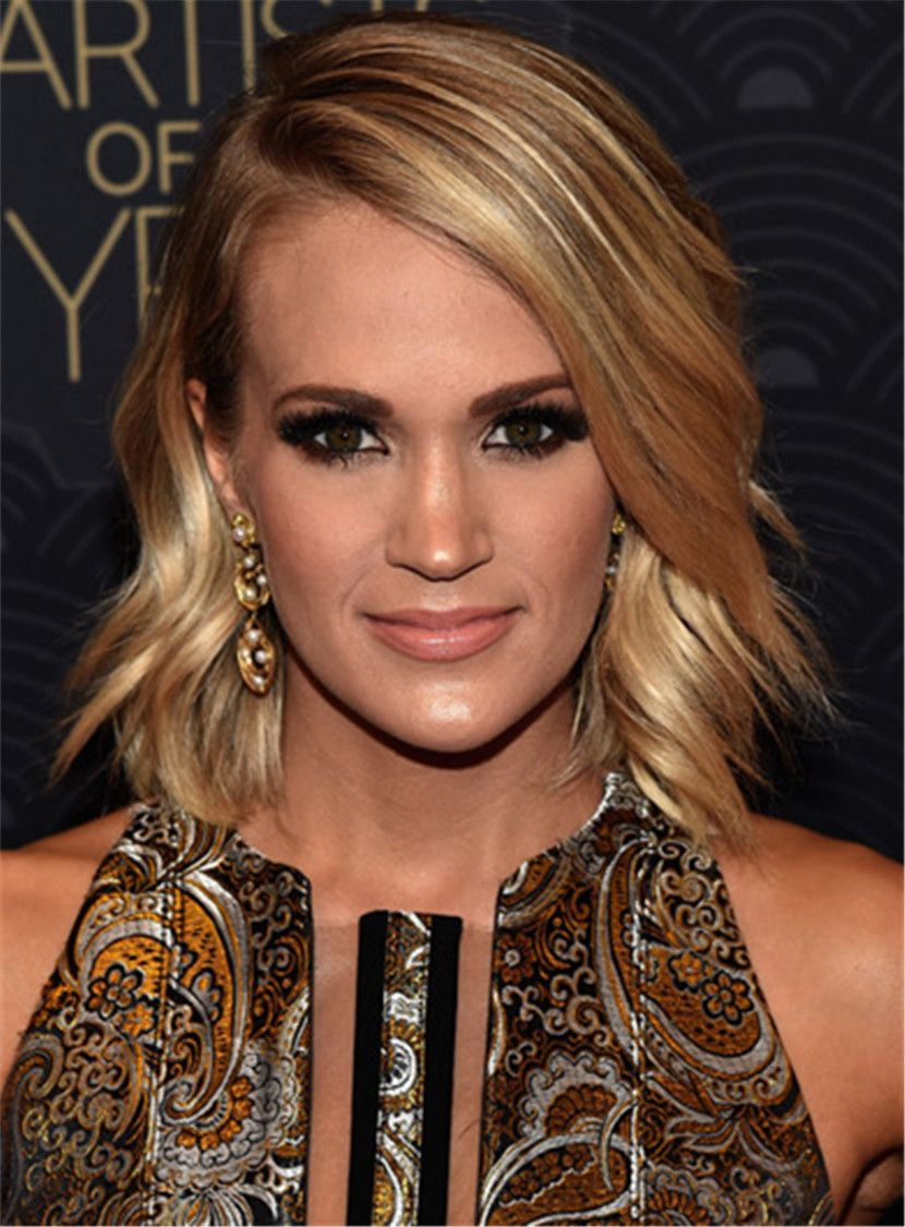 images Carrie Underwood Layered Hairstyle with Side Swept Bangs