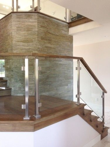 stainless steel glass railing stairs left stair well Pinterest