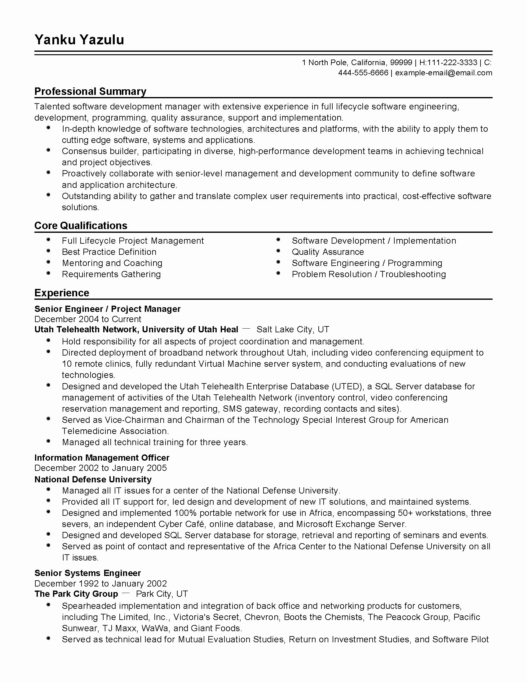 Director Of software Engineering Resume Unique Engineering
