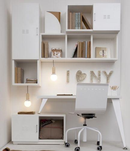 bibliotecas melamina blanca  Buscar con Google  escritorio