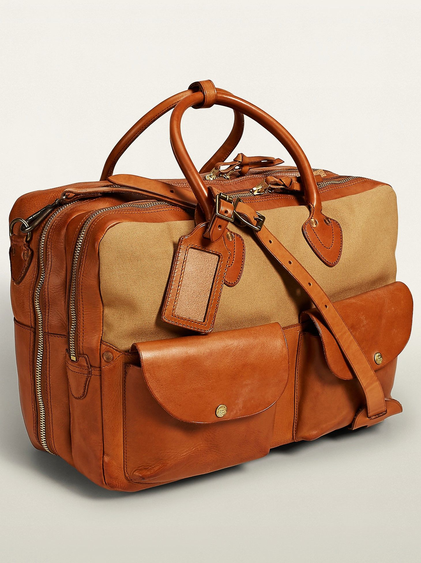 6d2b370110 RRL Khaki + Leather Cargo Holdall by Ralph Lauren | TOTES | Bags ...