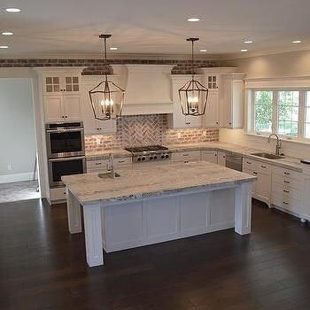 brick kitchen backsplash island chairs for pin by b f on home in 2019 remodel house hubby and mine dream classic charleston style farmhouse with painted lantern pendant lights