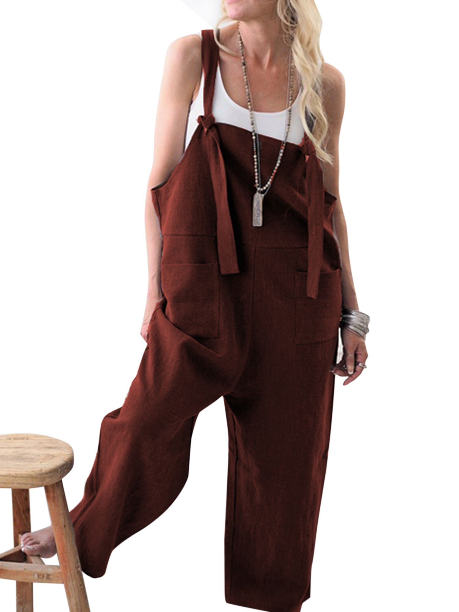 956b9588c406 Ladies Casual Straps Overalls Trousers Ladies Sleeveless Baggy Pockets Long  Pants Loose Cotton Linen Jumpsuit Dungarees