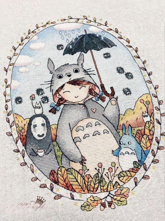 Girl in Totoro costume cross stitch pattern anime style