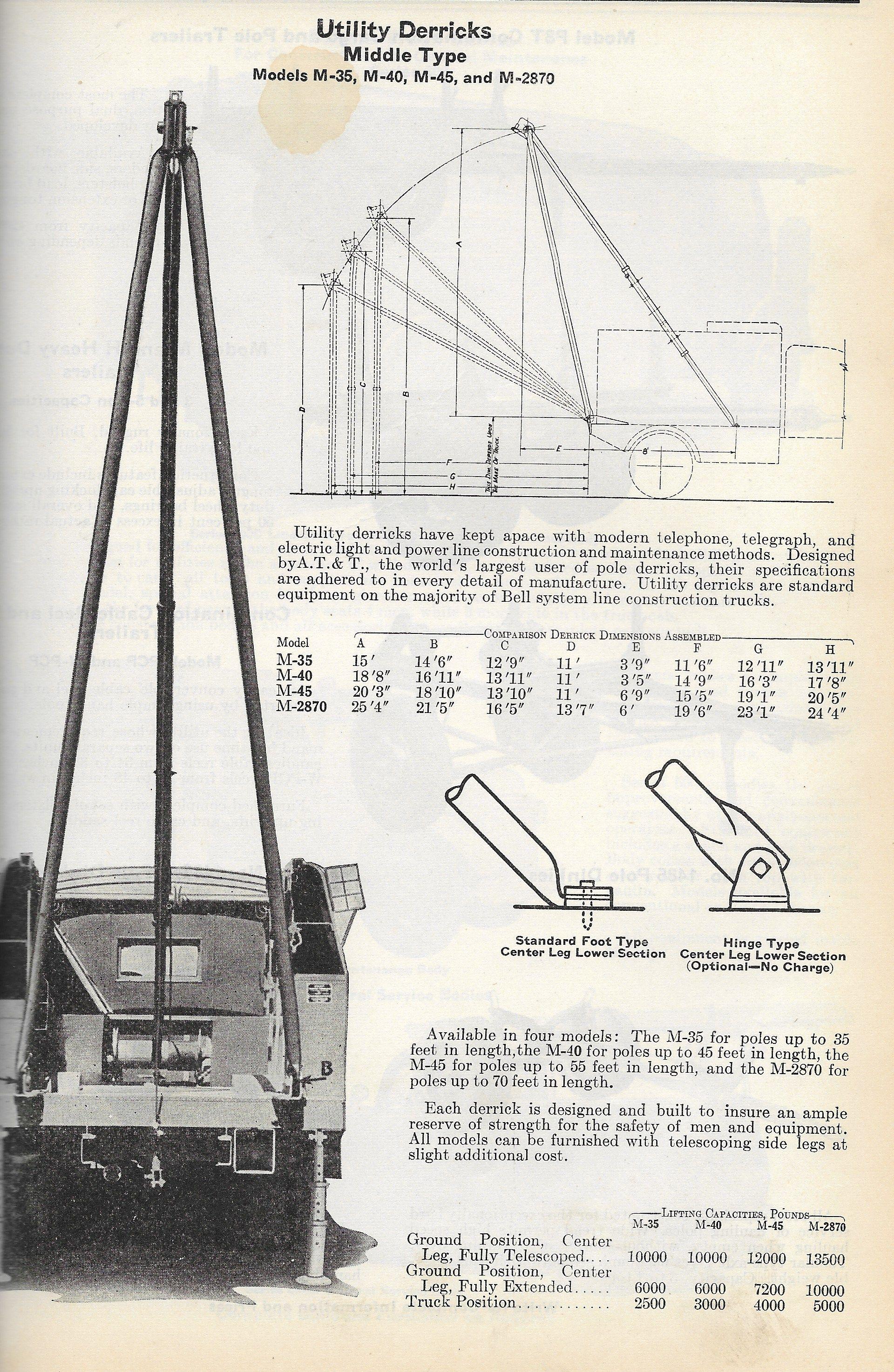 A frame derricks for pole construction were standard equipment on ...
