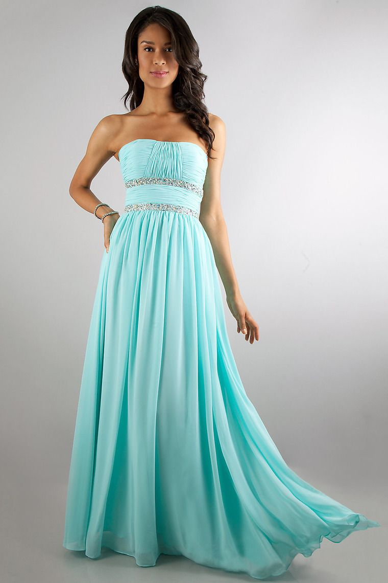 Buy cute strapless prom dress floor length embellished with beads on