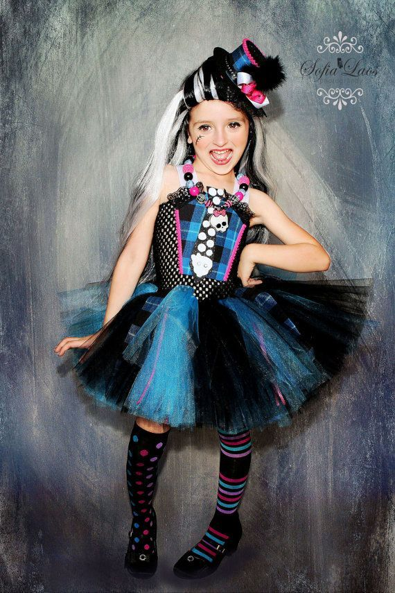 frankie stein inspired costume from monster high blue and. Black Bedroom Furniture Sets. Home Design Ideas
