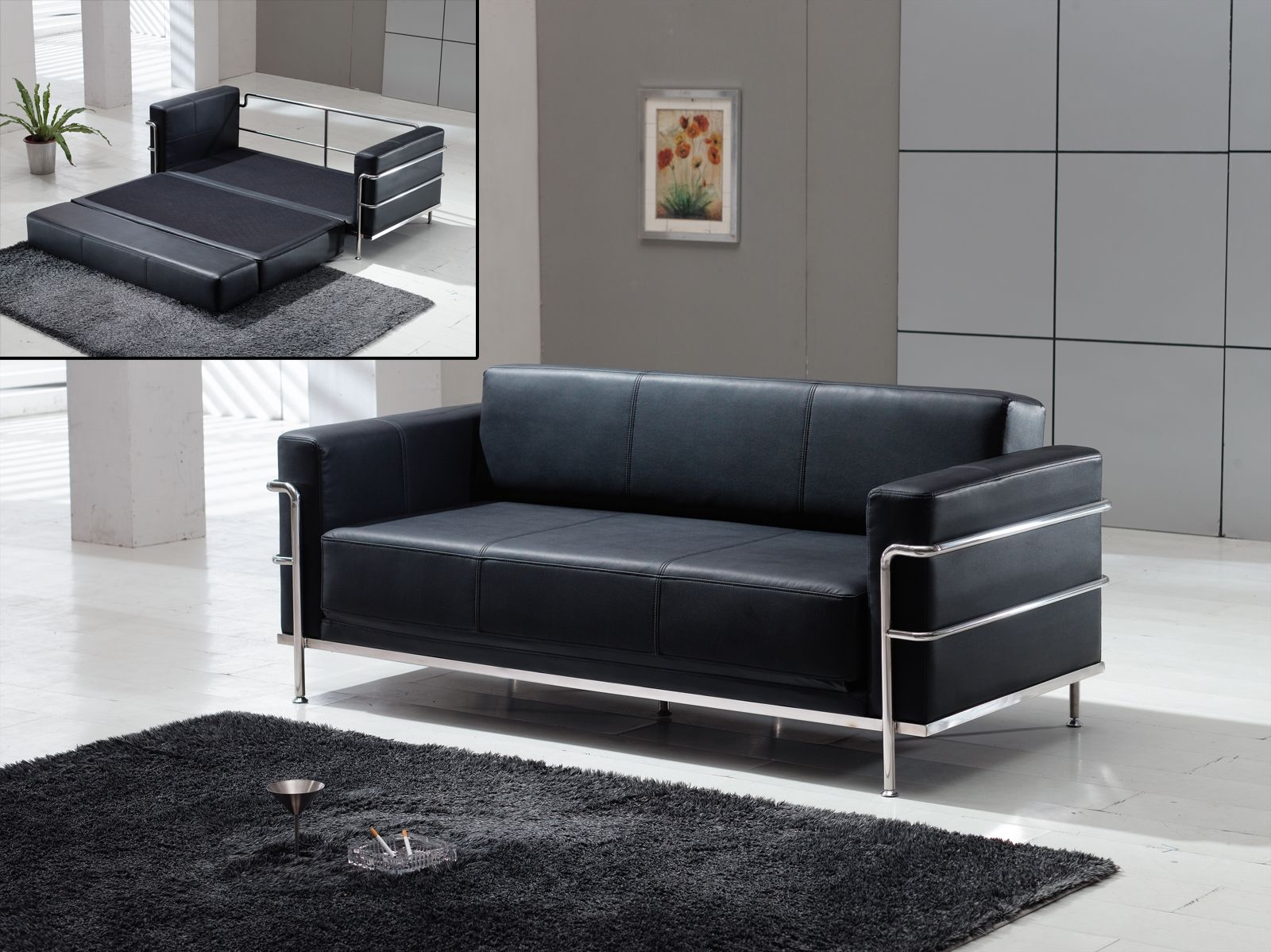 Le Corbusier Style - Black Leather Sofa Bed Sleeper | Apartment ...