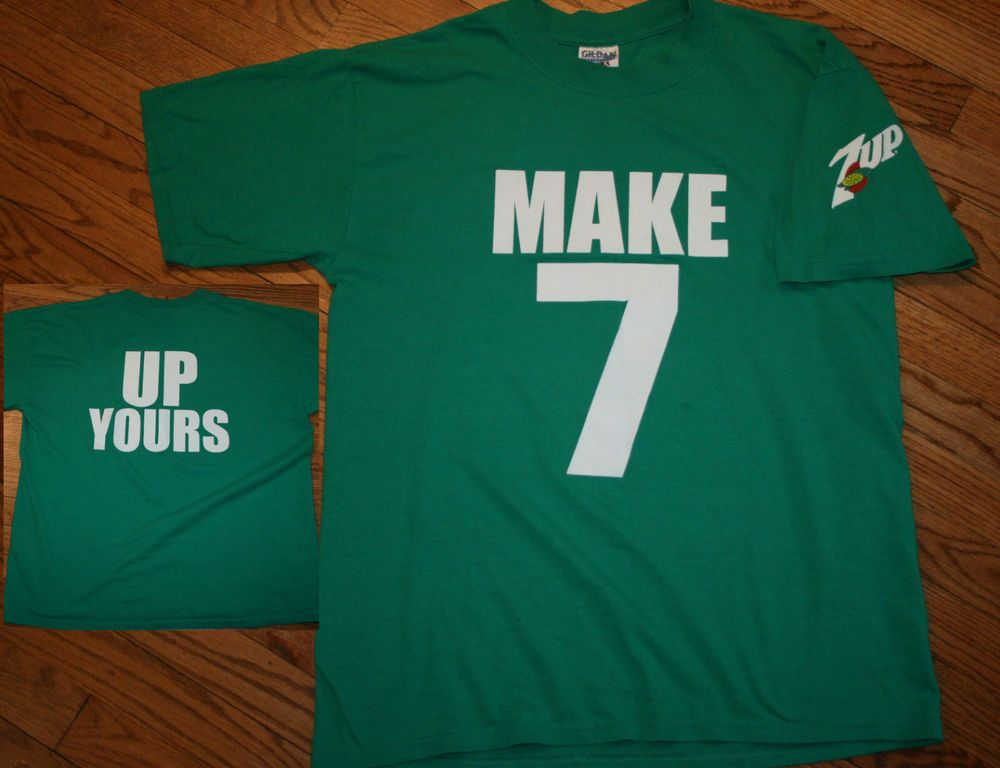 316d91347 Vintage Make 7 Up Yours T-Shirt Men's Large green tee soda drink 50/50  content #Gildan #GraphicTee