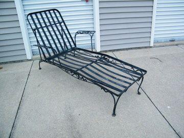 Wrought Iron Chaise Lounge Ribbon Motif Wrought Iron Garden