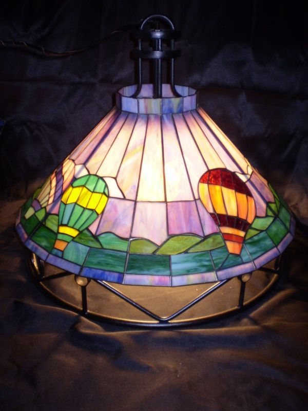 stained glass ceiling light. Vtg Hot Air Balloon Stain Glass Ceiling Light Fixture Wrought Iron Applebee\u0027s Stained A