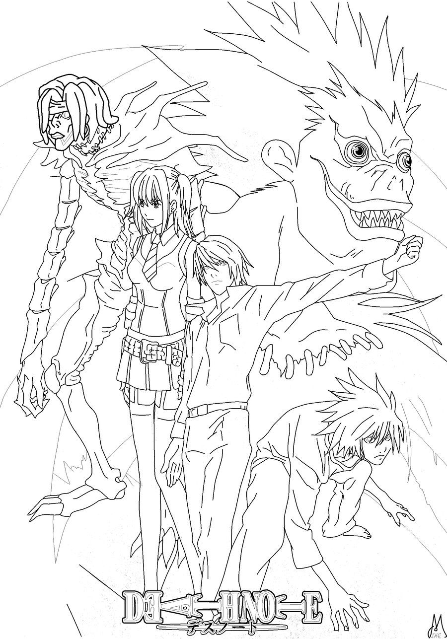 Deathnote Coloring Page Final By Boozhah D37zpar Jpg 900 1287