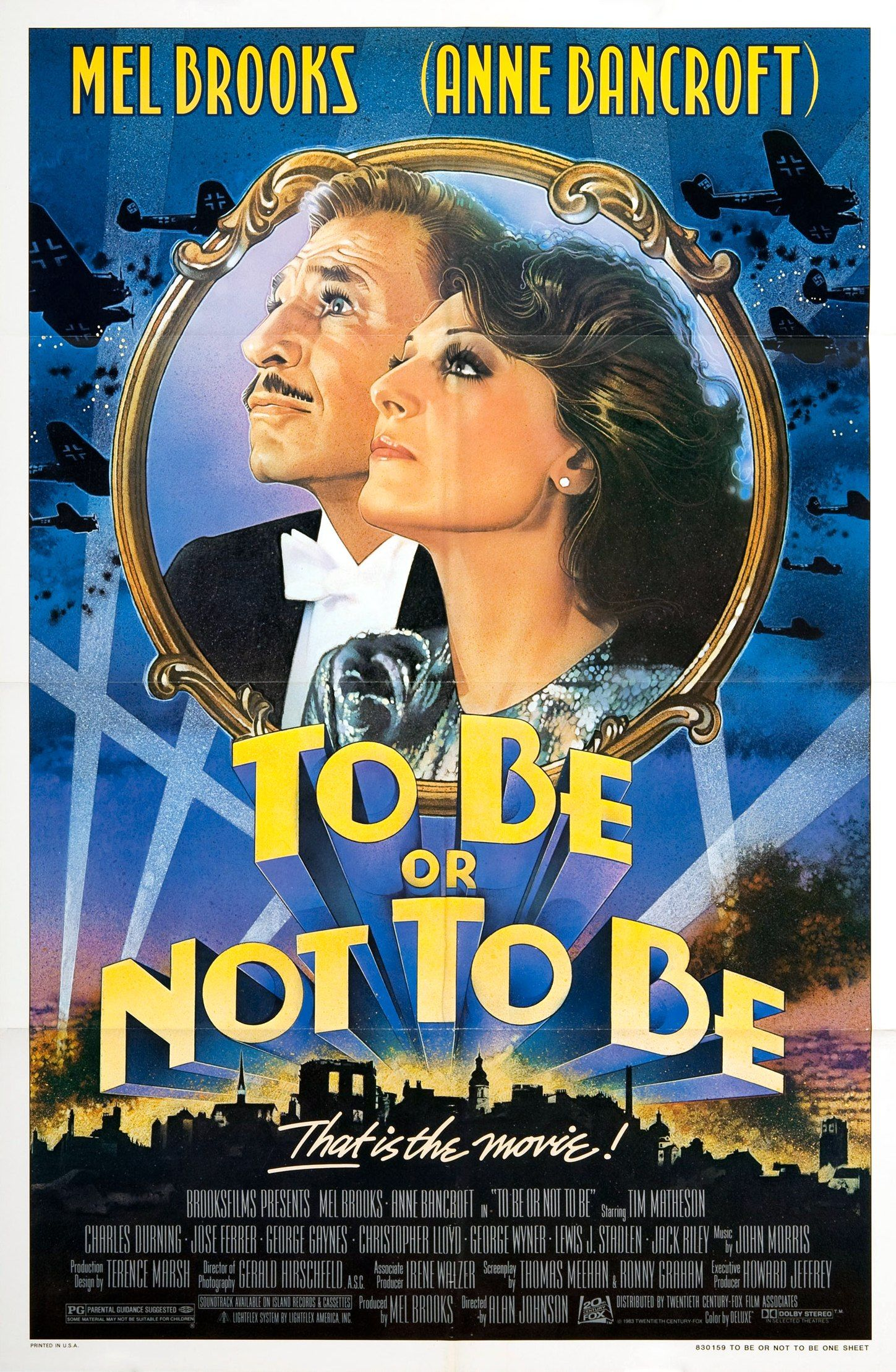 To Be Or Not To Be Movie Poster 1983 Mel Brooks Movies Movie Posters Anne Bancroft