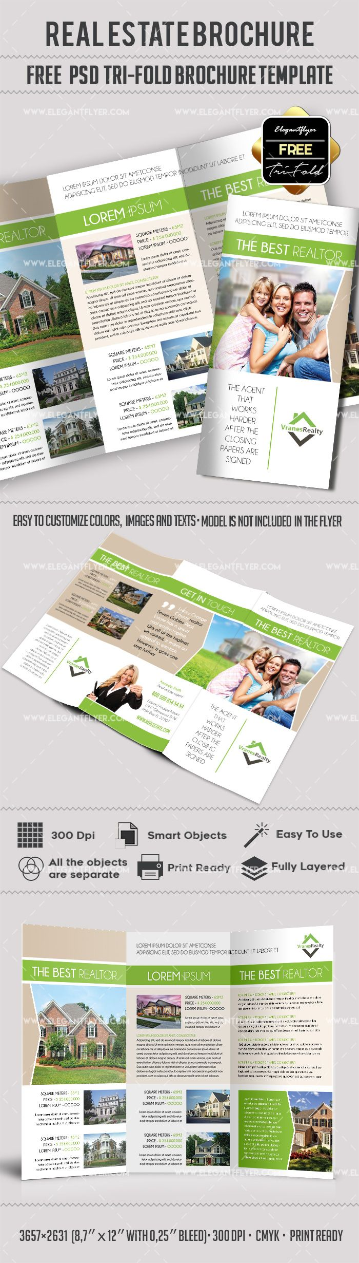 Free Real Estate Trifold Brochure Template in PSD | DESIGN | Pinterest