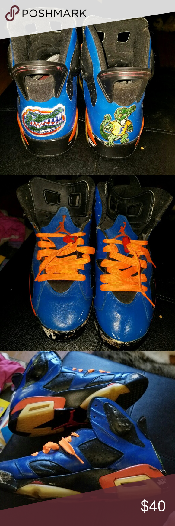 Custom FLORIDA GATOR Jordans Made Sneakers Sections Do Have White Scuff Marks Noted In Pic Hence The Price Sneaker It Self Good Shape
