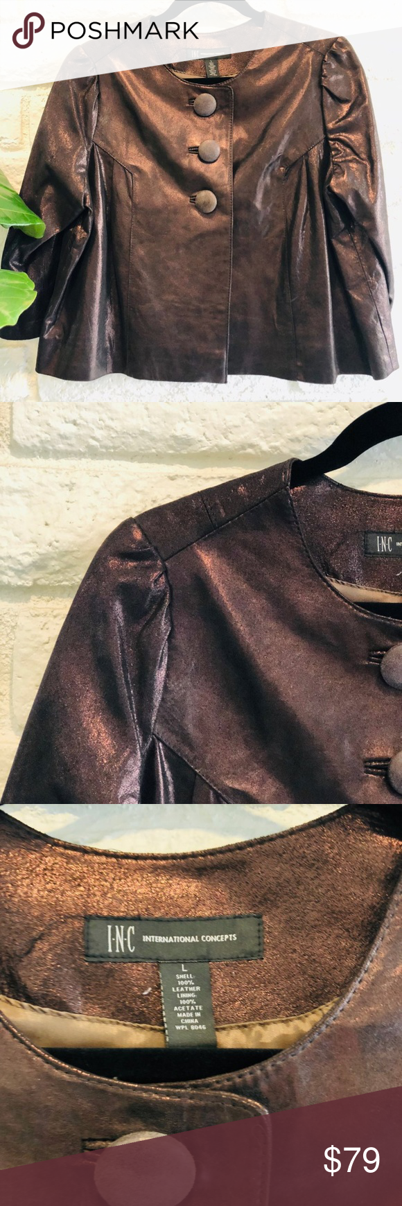 INC Brown Leather Jacket Size L Love this gorgeous bronze/brown leather jacket from INC. The cute three buttons in the front give this jacket a ton of style.  And the 3/4 sleeves are just too fun.  I love wearing this type of jacket with a long, thin sweater underneath so the sweater peeks out the jacket.   Like new, this jacket will take you through the winter months looking good!  Great for work and play.  Ask me any questions.  Follow me on Twitter and Facebook @melissanorthway Check out my blog at www.dandelionwomen.com INC International Concepts Jackets & Coats