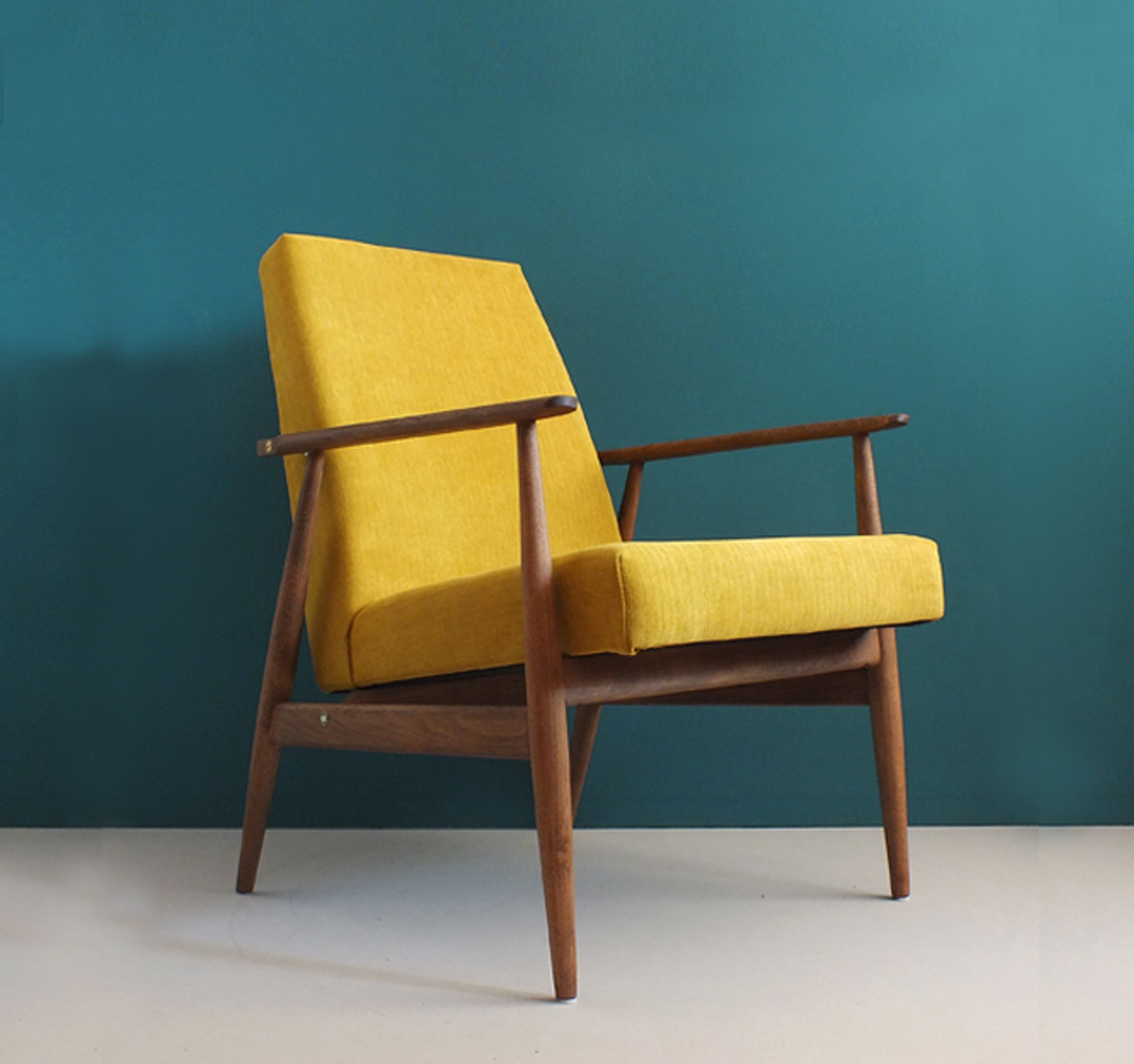 Vintage Armchair Form Mid Century Mustard Restored Dizajn