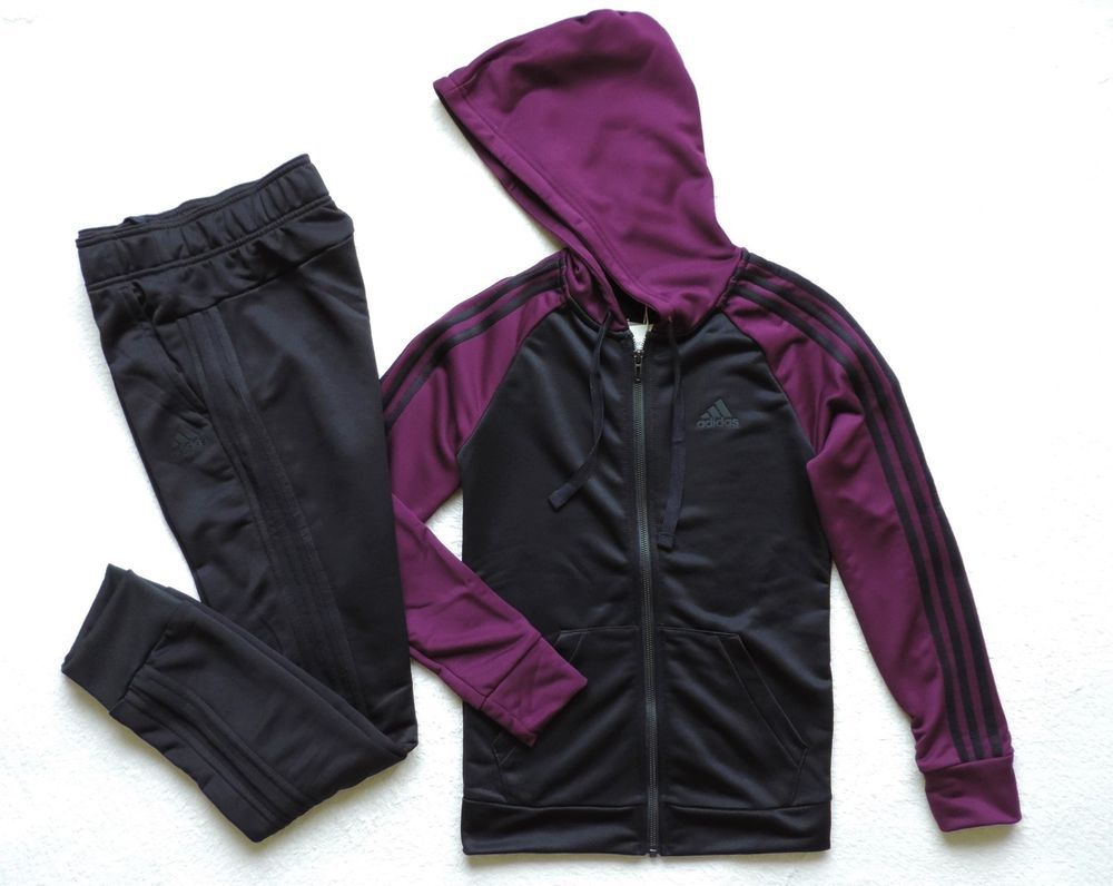 591ebb736a9a adidas Womens RE-Focus TS Track Suit Black Purple