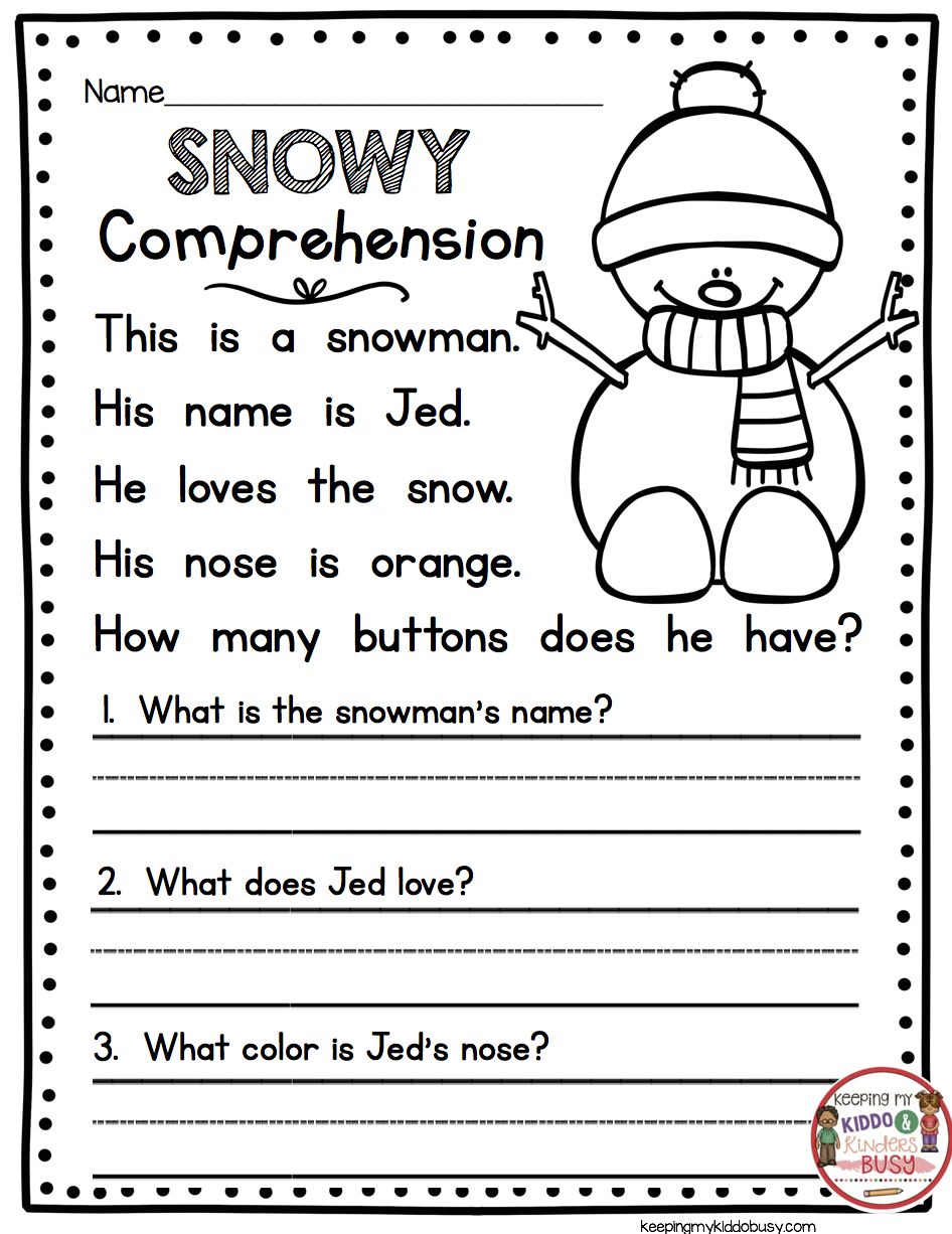Reading Passage With Comprehension Questions Snowman Kinde 1st Grade Reading Worksheets Reading Comprehension Worksheets Reading Comprehension Kindergarten [ 1226 x 946 Pixel ]