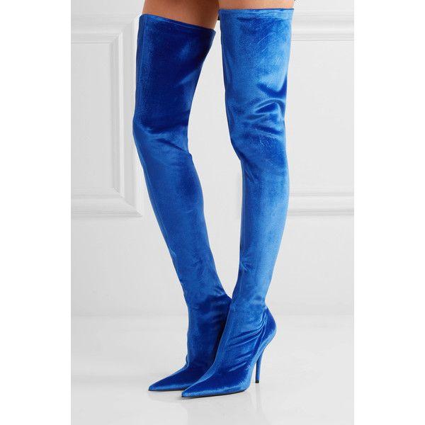 discount best sale release dates for sale Balenciaga Velvet Knee-High Boots zOPYZ
