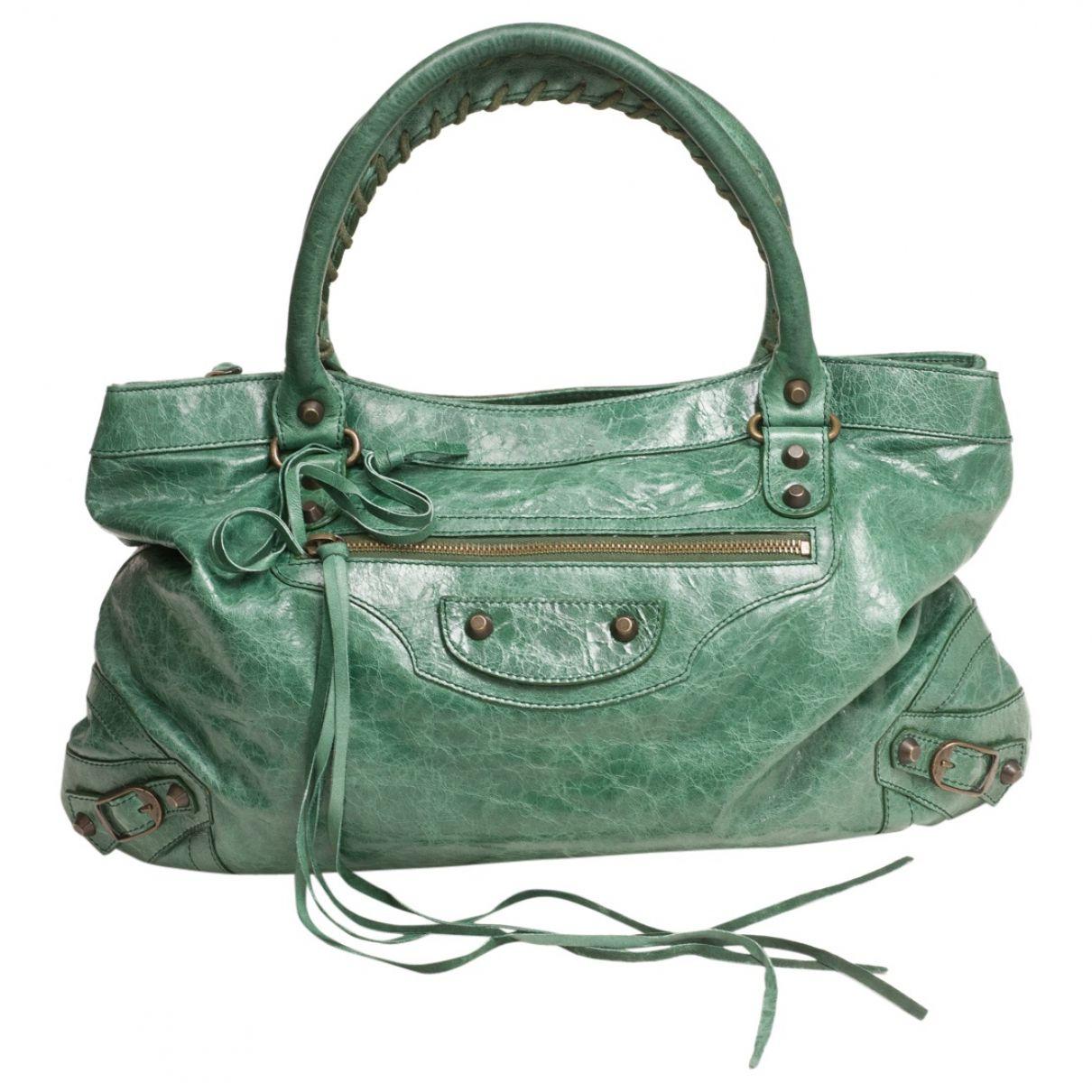 Balenciaga Green Leather Handbag City   Vestiaire Collective
